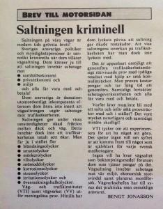 Insändare publicerad 2 december 1985 i Norrköpings Tidningar