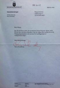 Svar från Maria Strandberg, en statsrådsberedningsfjolla!