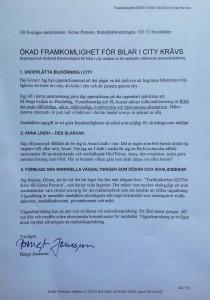 Ett av mina brev till Göran Persson. Förutom min klagan över saltningen förvarnade jag om Anna Lindhs bortgång cirka ett år i förväg.